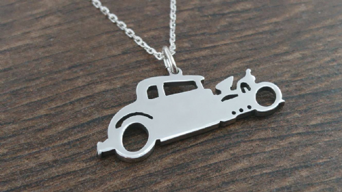 Custom made Silhouette Hotrod car pendant Handmade by saw piercing from a photo